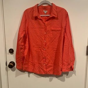NWOT, Coral and White Polka Dot, Button Up Shirt